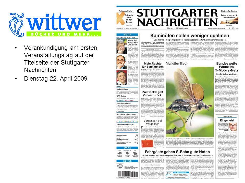 Ganzseitige Vorankündigung am ersten Veranstaltungstag auf Seite 22 der Stuttgarter Nachrichten Dienstag 22.