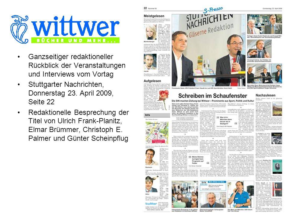 Ganzseitiger redaktioneller Rückblick der Veranstaltungen und Interviews vom Vortag Stuttgarter Nachrichten, Donnerstag 23.