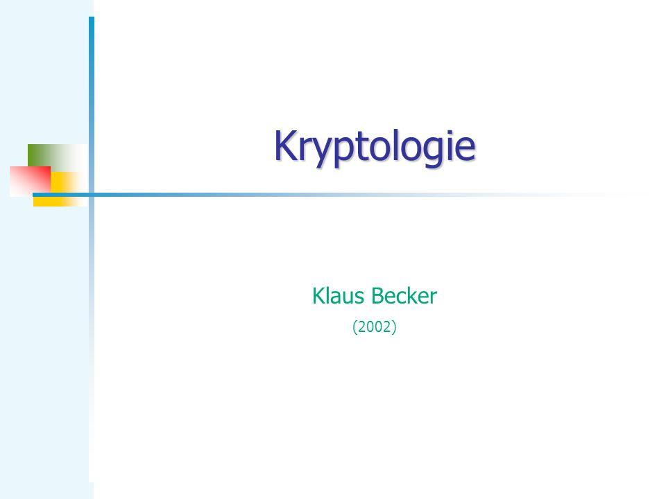 KB Kryptologie 22 RSA-Verfahren mit DERIVE Entschlüsselung: Nachbereitung: Dekodierung 801|121|215 08.01.12.12.15 HALLO DERIVE-Protokoll MODPOT(234247, d, n) 801 MODPOT(1436140, d, n) 121 MODPOT(697452, d, n) 215 Ergebnis: entschlüsselte Nachricht: HALLO Öffentl.