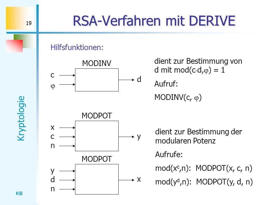 KB Kryptologie 19 RSA-Verfahren mit DERIVE Hilfsfunktionen: MODINV MODPOT dient zur Bestimmung von d mit mod(c d, ) = 1 Aufruf: MODINV(c, ) dient zur