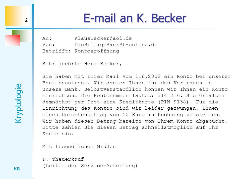 KB Kryptologie 3 Sicherheitsprobleme Authentizität: Stammt die Nachricht wirklich von der billigen Bank, oder erlaubt sich hier jemand einen Scherz.