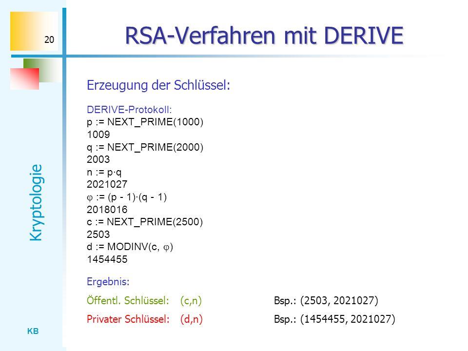 KB Kryptologie 20 RSA-Verfahren mit DERIVE Erzeugung der Schlüssel: DERIVE-Protokoll: p := NEXT_PRIME(1000) 1009 q := NEXT_PRIME(2000) 2003 n := p·q 2