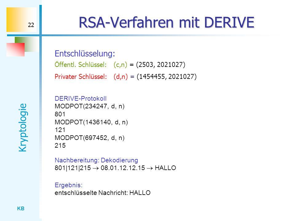 KB Kryptologie 22 RSA-Verfahren mit DERIVE Entschlüsselung: Nachbereitung: Dekodierung 801|121|215 08.01.12.12.15 HALLO DERIVE-Protokoll MODPOT(234247