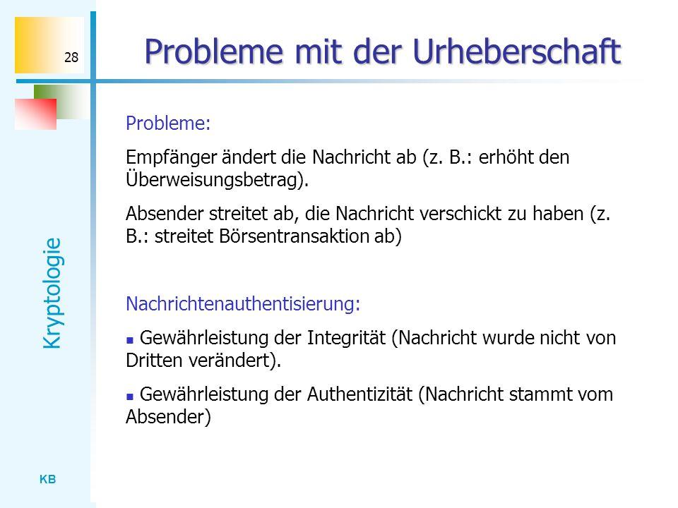 KB Kryptologie 28 Probleme mit der Urheberschaft Nachrichtenauthentisierung: Gewährleistung der Integrität (Nachricht wurde nicht von Dritten veränder