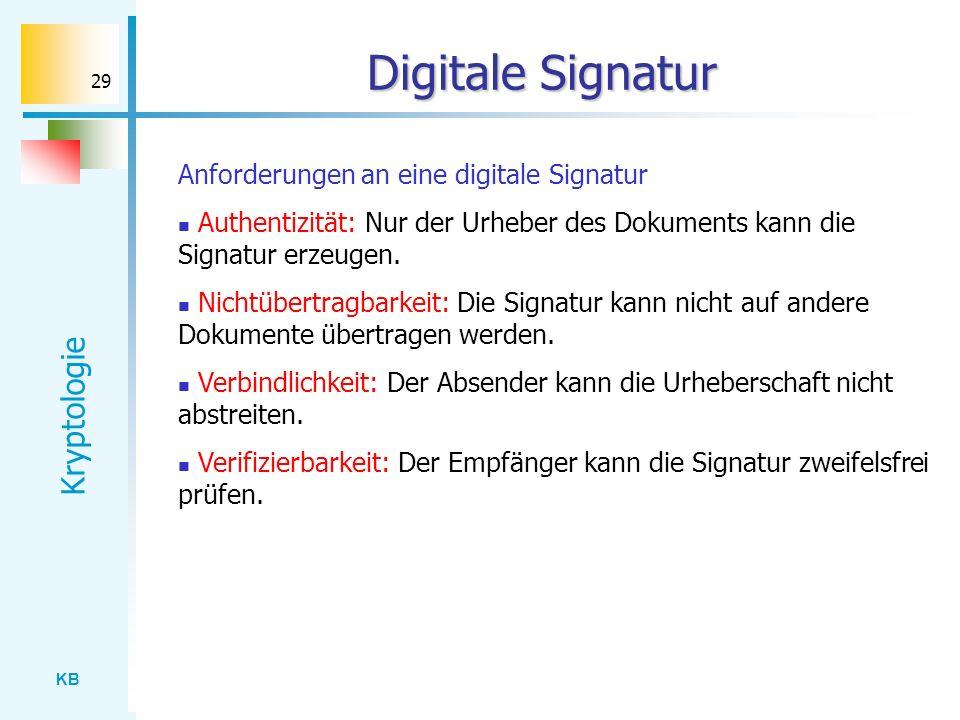 KB Kryptologie 29 Digitale Signatur Anforderungen an eine digitale Signatur Authentizität: Nur der Urheber des Dokuments kann die Signatur erzeugen. N