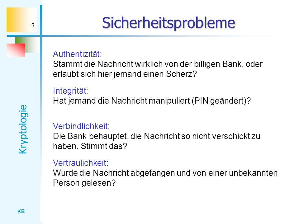 KB Kryptologie 3 Sicherheitsprobleme Authentizität: Stammt die Nachricht wirklich von der billigen Bank, oder erlaubt sich hier jemand einen Scherz? I