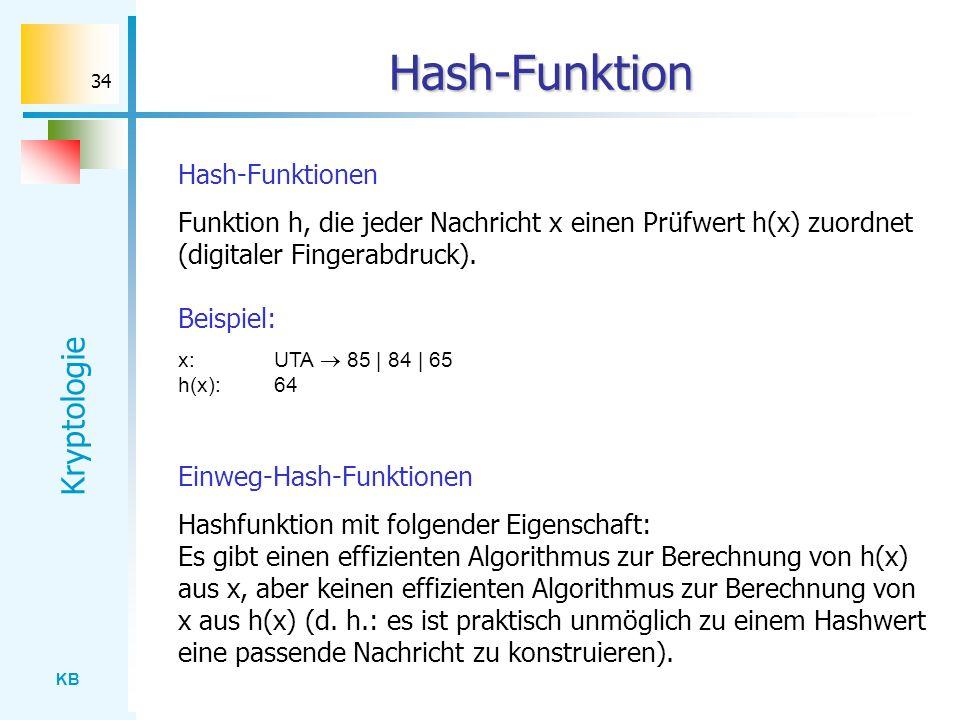 KB Kryptologie 34 Hash-Funktion Hash-Funktionen Funktion h, die jeder Nachricht x einen Prüfwert h(x) zuordnet (digitaler Fingerabdruck). Beispiel: x: