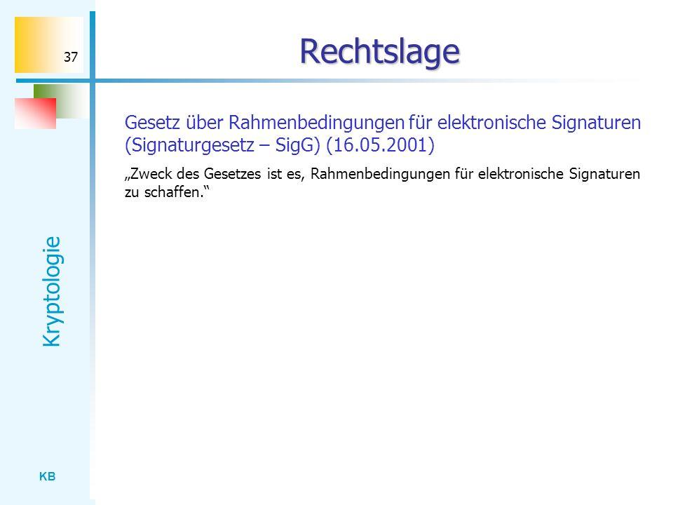 KB Kryptologie 37 Rechtslage Gesetz über Rahmenbedingungen für elektronische Signaturen (Signaturgesetz – SigG) (16.05.2001) Zweck des Gesetzes ist es