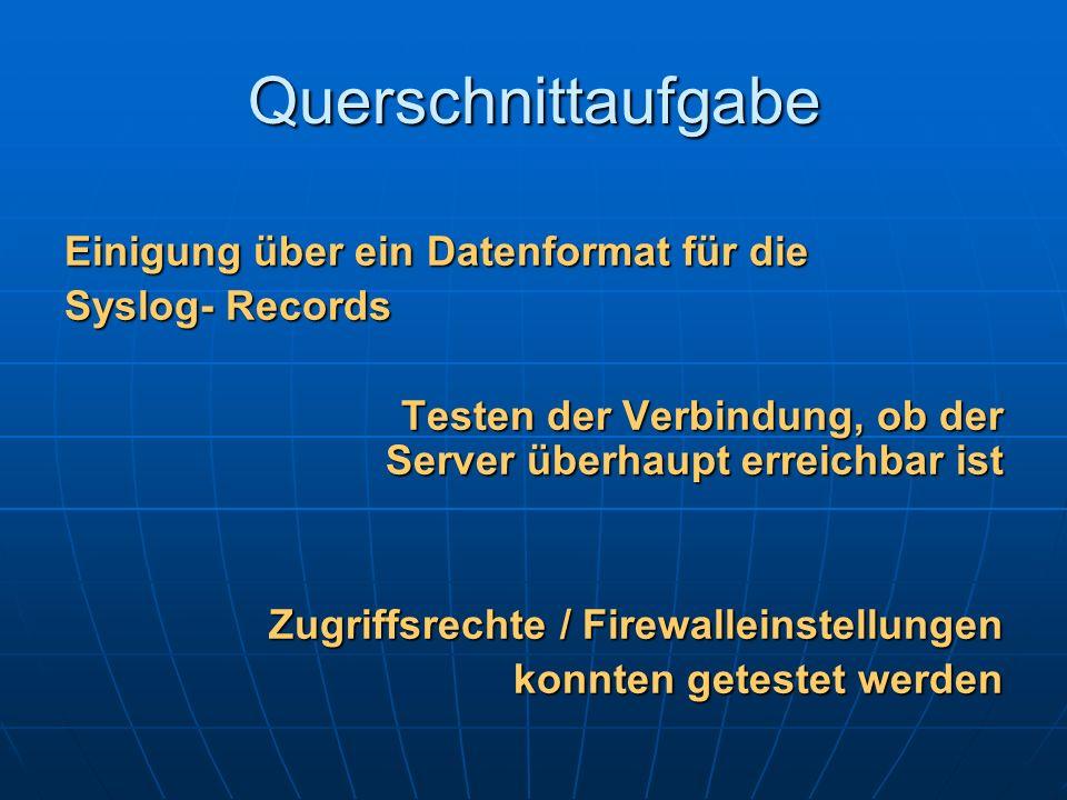 Querschnittaufgabe Einigung über ein Datenformat für die Syslog- Records Testen der Verbindung, ob der Server überhaupt erreichbar ist Zugriffsrechte