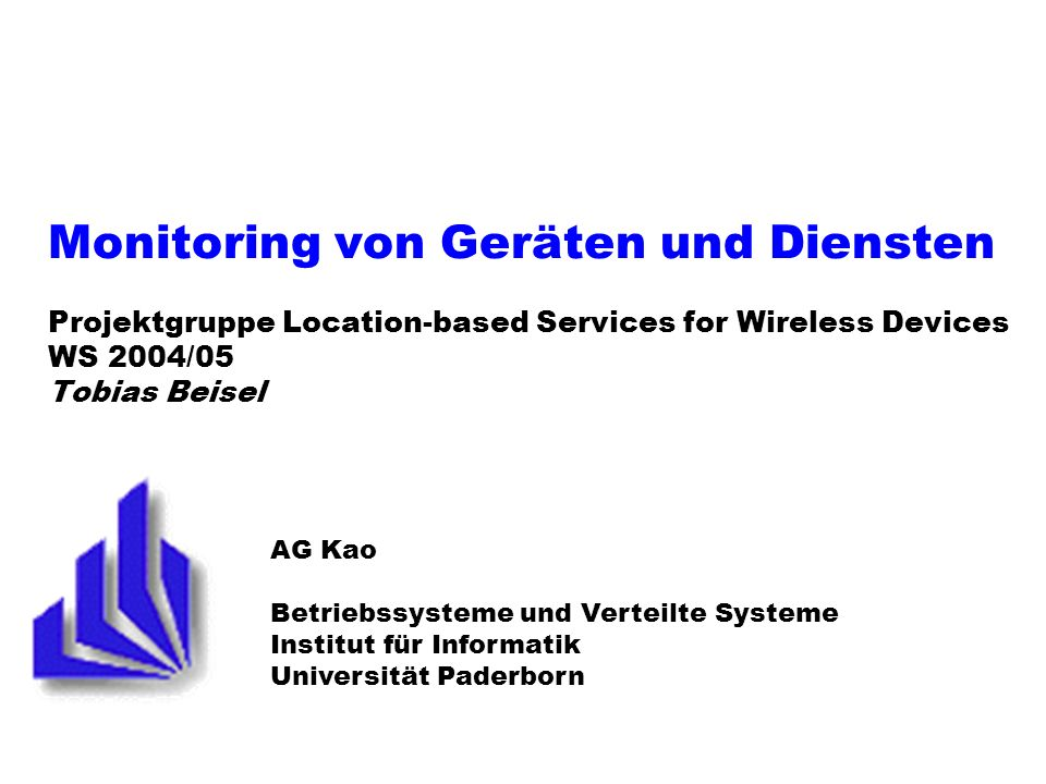 PG LBS: Monitoring von Geräten und Diensten 12 28.10.2003 Eventing-Middleware DCOM (Distributed Component Object Model) /.NET Remoting CORBA (Common Object Request Broker Architecture) JINI (Java Intelligent Network Infrastructure )