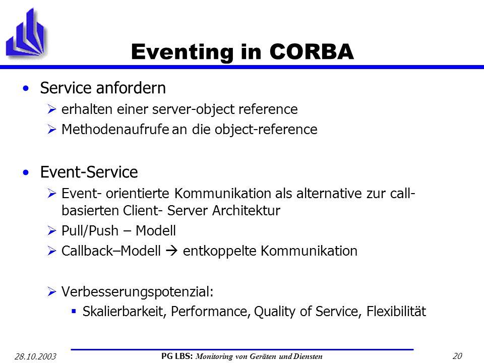 PG LBS: Monitoring von Geräten und Diensten 20 28.10.2003 Eventing in CORBA Service anfordern erhalten einer server-object reference Methodenaufrufe a