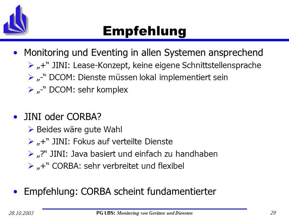 PG LBS: Monitoring von Geräten und Diensten 29 28.10.2003 Empfehlung Monitoring und Eventing in allen Systemen ansprechend + JINI: Lease-Konzept, kein