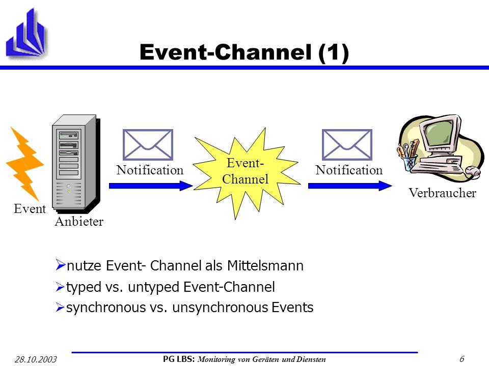 PG LBS: Monitoring von Geräten und Diensten 6 28.10.2003 Event-Channel (1) Event Anbieter Notification Verbraucher Notification Event- Channel nutze E