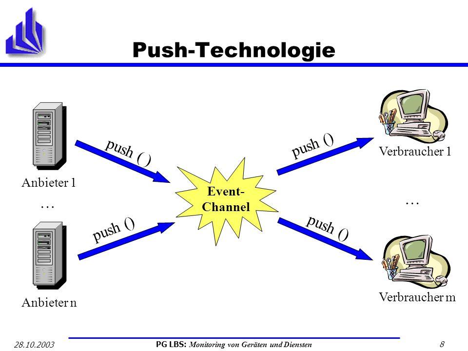 PG LBS: Monitoring von Geräten und Diensten 8 28.10.2003 Push-Technologie Anbieter 1 Event- Channel Verbraucher 1 push ( ) Anbieter n … Verbraucher m