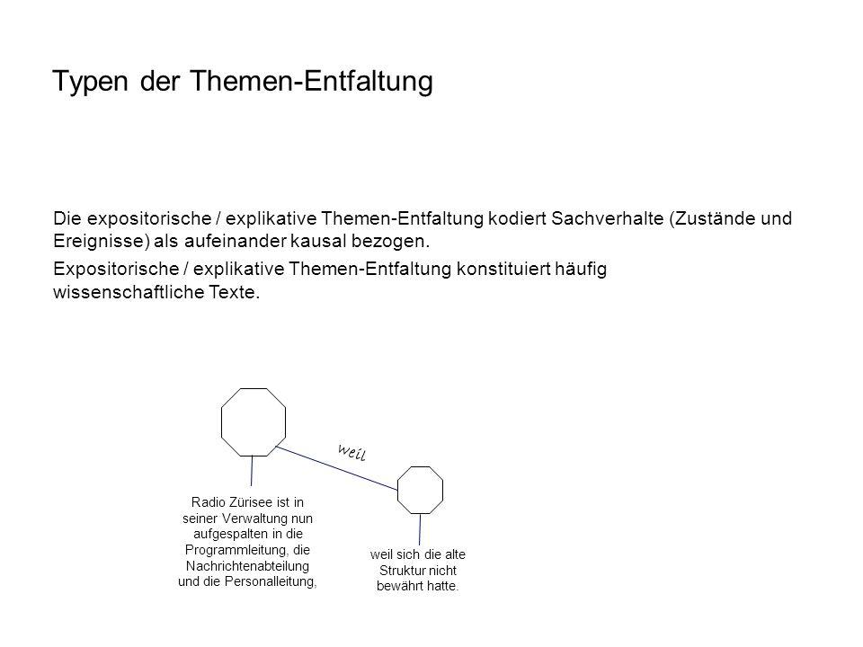 Die expositorische / explikative Themen-Entfaltung kodiert Sachverhalte (Zustände und Ereignisse) als aufeinander kausal bezogen. Expositorische / exp