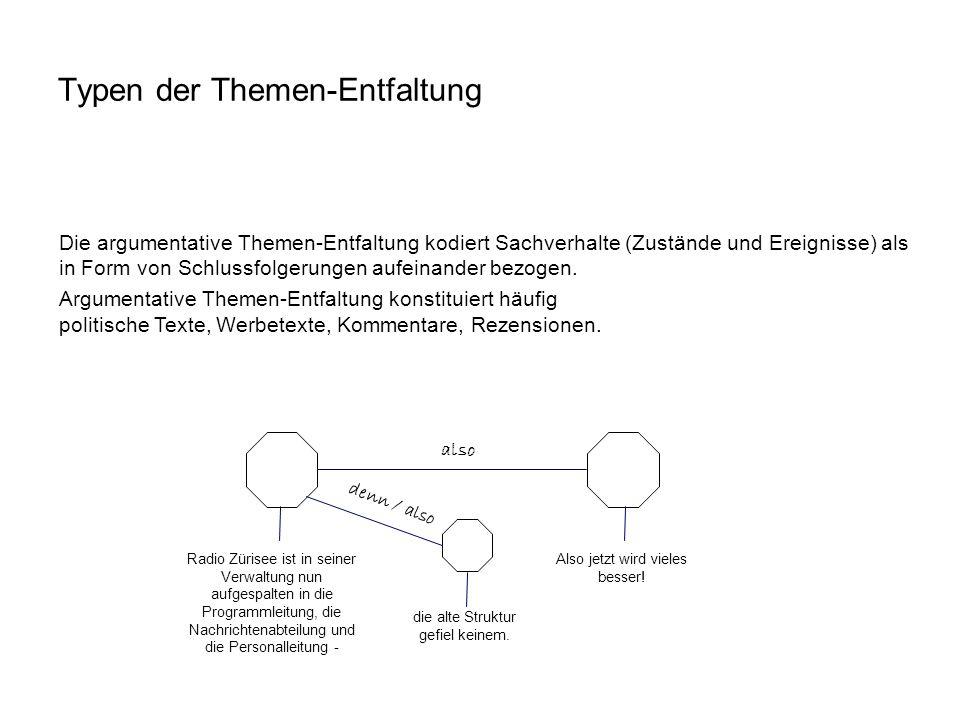 Die argumentative Themen-Entfaltung kodiert Sachverhalte (Zustände und Ereignisse) als in Form von Schlussfolgerungen aufeinander bezogen. Argumentati