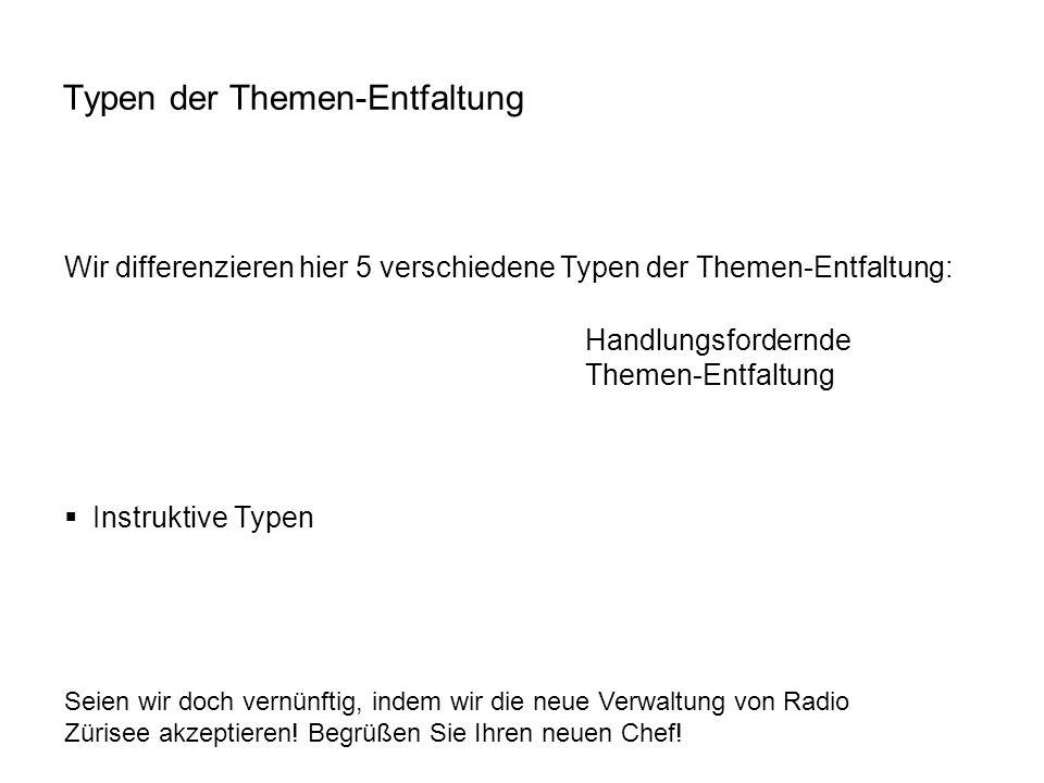 Handlungsfordernde Themen-Entfaltung Seien wir doch vernünftig, indem wir die neue Verwaltung von Radio Zürisee akzeptieren! Begrüßen Sie Ihren neuen