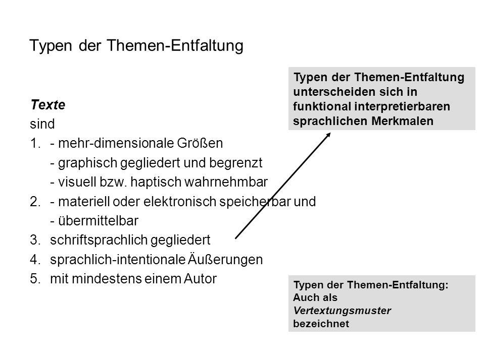 Texte sind 1.- mehr-dimensionale Größen - graphisch gegliedert und begrenzt - visuell bzw. haptisch wahrnehmbar 2.- materiell oder elektronisch speich