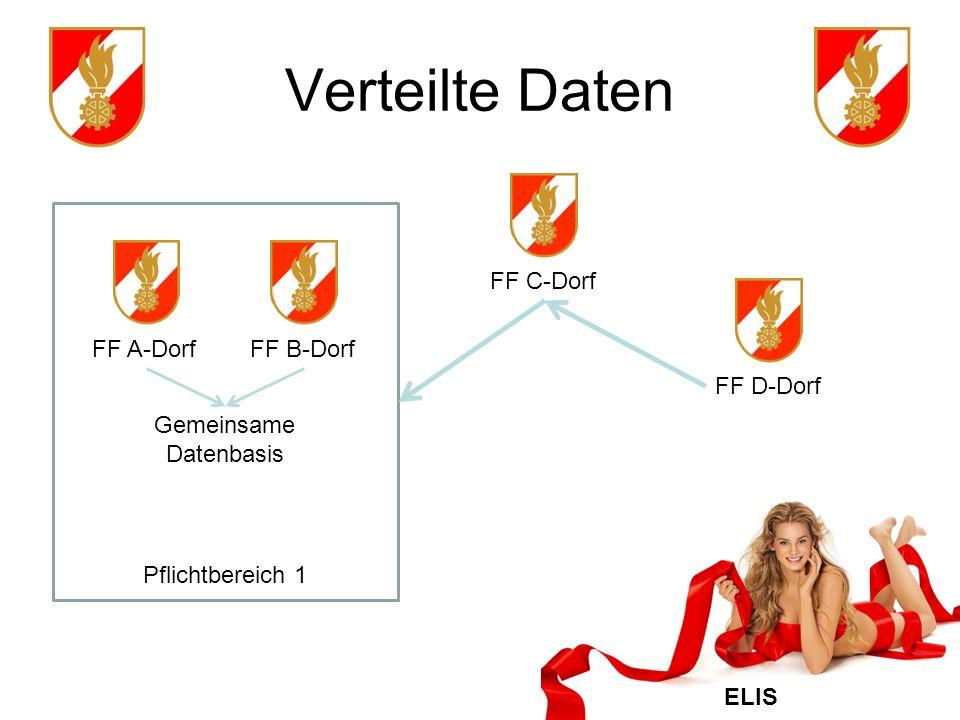 ELIS Verteilte Daten FF C-DorfFF D-Dorf FF A-DorfFF B-Dorf Gemeinsame Datenbasis Pflichtbereich 1