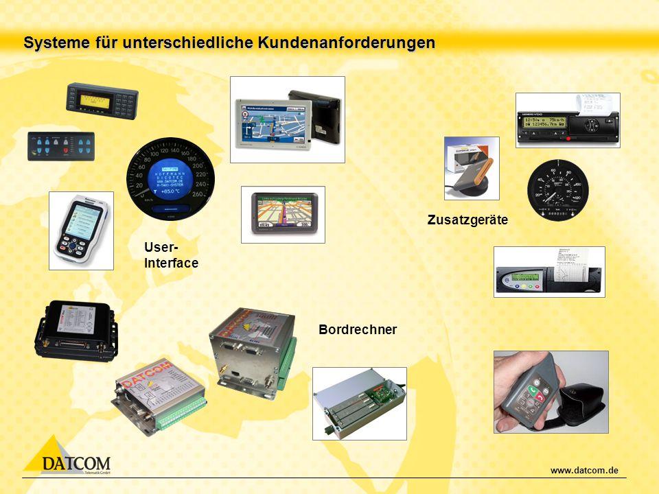 www.datcom.de Systeme für unterschiedliche Kundenanforderungen Bordrechner User- Interface Zusatzgeräte