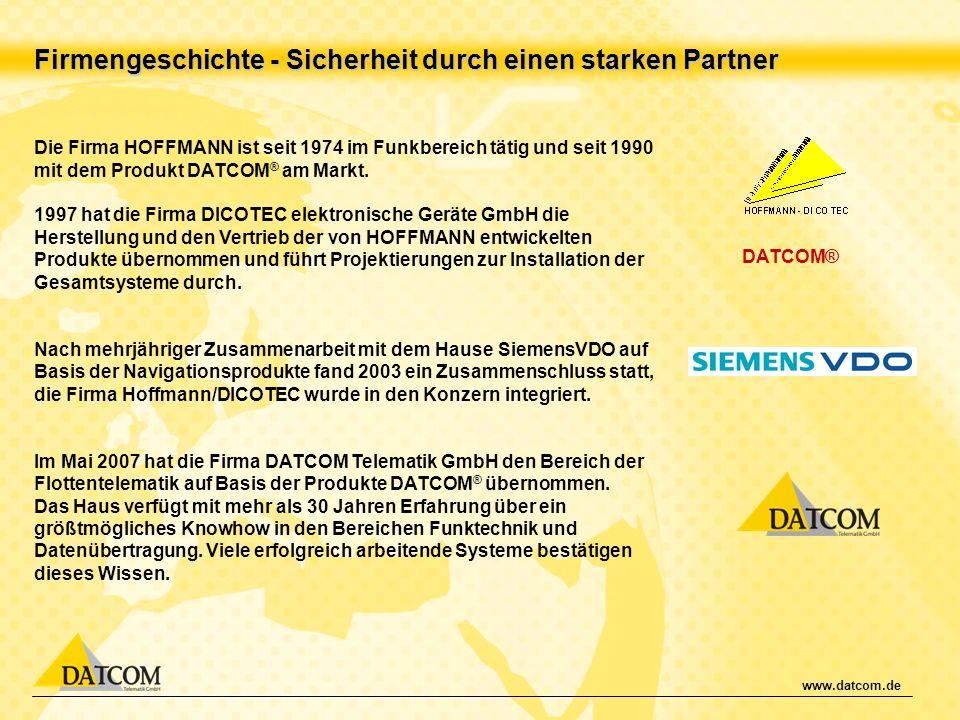 www.datcom.de Firmengeschichte - Sicherheit durch einen starken Partner Die Firma HOFFMANN ist seit 1974 im Funkbereich tätig und seit 1990 mit dem Pr
