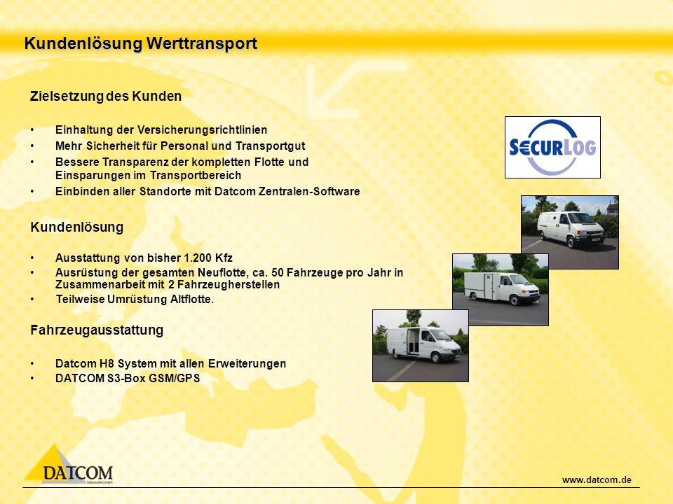 www.datcom.de Kundenlösung Werttransport Zielsetzung des Kunden Einhaltung der Versicherungsrichtlinien Mehr Sicherheit für Personal und Transportgut