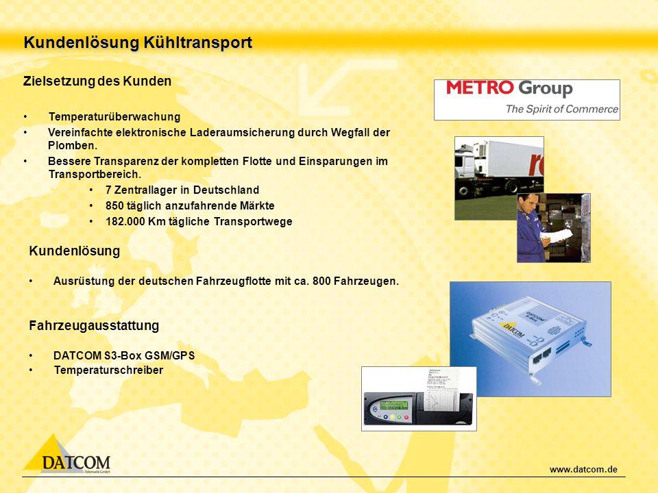 www.datcom.de Kundenlösung Kühltransport Zielsetzung des Kunden Temperaturüberwachung Vereinfachte elektronische Laderaumsicherung durch Wegfall der P