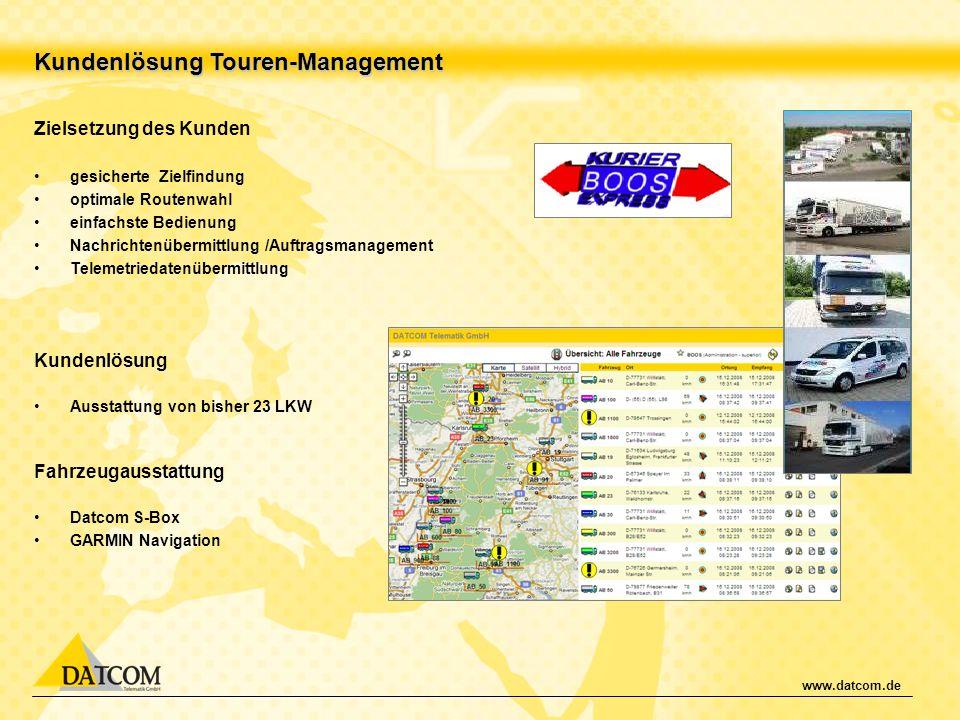 www.datcom.de Kundenlösung Touren-Management Zielsetzung des Kunden gesicherte Zielfindung optimale Routenwahl einfachste Bedienung Nachrichtenübermit