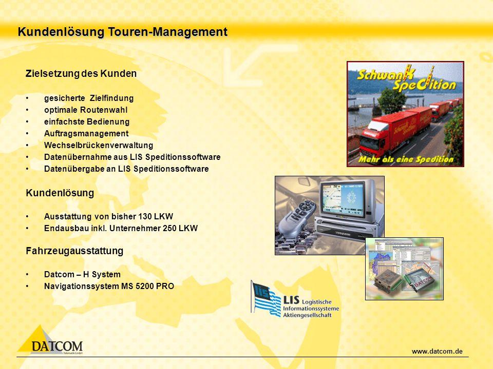 www.datcom.de Kundenlösung Touren-Management Zielsetzung des Kunden gesicherte Zielfindung optimale Routenwahl einfachste Bedienung Auftragsmanagement