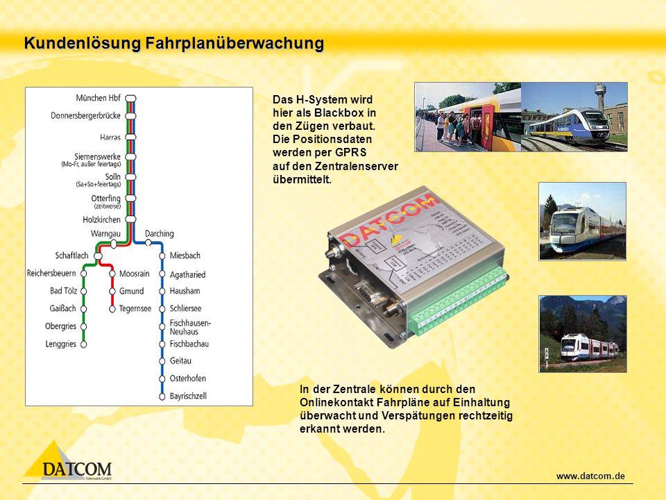 www.datcom.de Kundenlösung Fahrplanüberwachung Das H-System wird hier als Blackbox in den Zügen verbaut. Die Positionsdaten werden per GPRS auf den Ze
