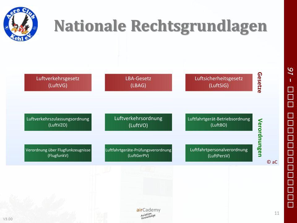 V3.00 91 – VFR Communication Nationale Rechtsgrundlagen 11