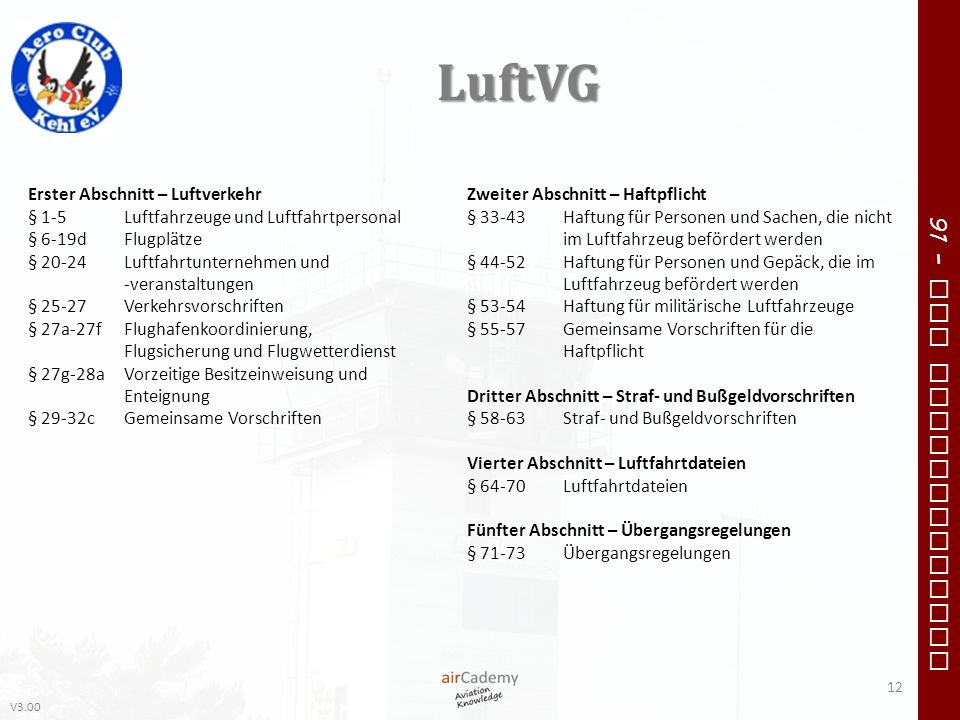 V3.00 91 – VFR Communication LuftVG 12 Erster Abschnitt – Luftverkehr § 1-5Luftfahrzeuge und Luftfahrtpersonal § 6-19dFlugplätze § 20-24Luftfahrtunter