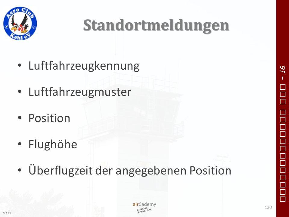 V3.00 91 – VFR Communication Standortmeldungen Luftfahrzeugkennung Luftfahrzeugmuster Position Flughöhe Überflugzeit der angegebenen Position 130