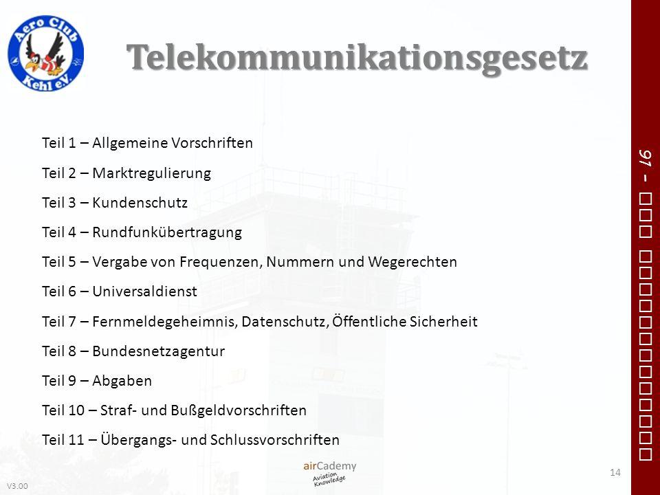 V3.00 91 – VFR Communication Telekommunikationsgesetz 14 Teil 1 – Allgemeine Vorschriften Teil 2 – Marktregulierung Teil 3 – Kundenschutz Teil 4 – Run