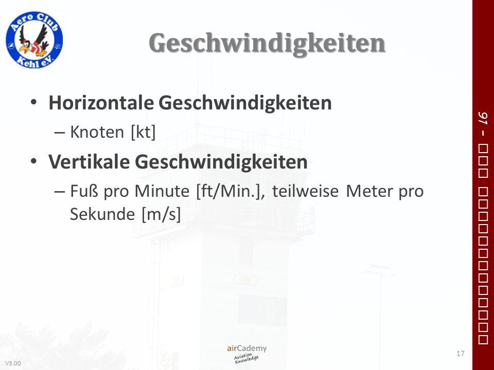 V3.00 91 – VFR Communication Geschwindigkeiten Horizontale Geschwindigkeiten – Knoten [kt] Vertikale Geschwindigkeiten – Fuß pro Minute [ft/Min.], tei