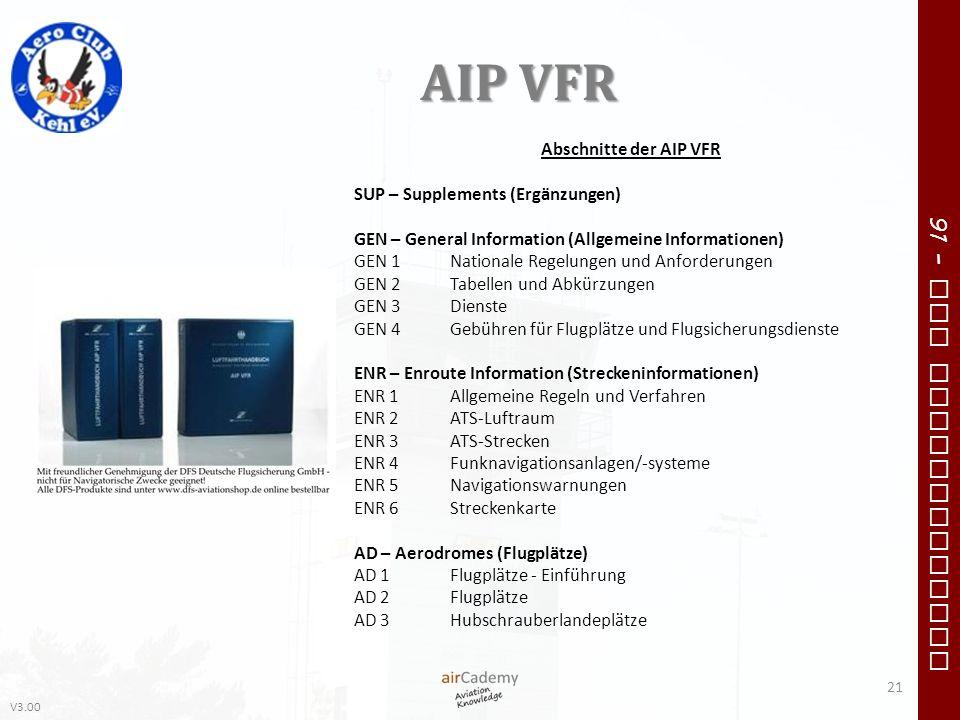 V3.00 91 – VFR Communication AIP VFR 21 Abschnitte der AIP VFR SUP – Supplements (Ergänzungen) GEN – General Information (Allgemeine Informationen) GE