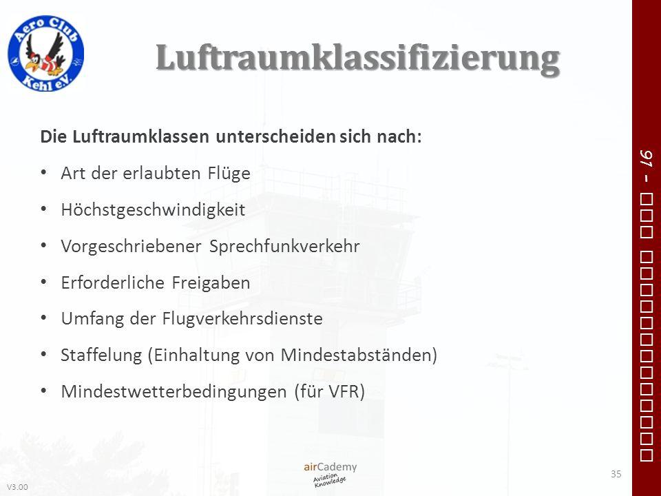 V3.00 91 – VFR Communication Luftraumklassifizierung Die Luftraumklassen unterscheiden sich nach: Art der erlaubten Flüge Höchstgeschwindigkeit Vorges