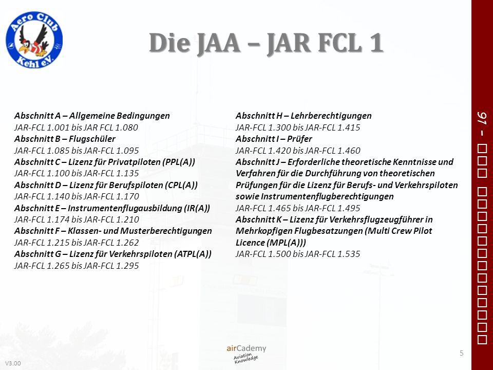 V3.00 91 – VFR Communication Die JAA – JAR FCL 1 5 Abschnitt H – Lehrberechtigungen JAR-FCL 1.300 bis JAR-FCL 1.415 Abschnitt I – Prüfer JAR-FCL 1.420