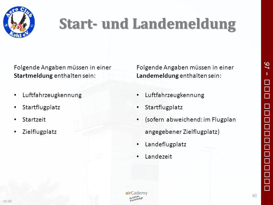 V3.00 91 – VFR Communication Start- und Landemeldung 60 Folgende Angaben müssen in einer Startmeldung enthalten sein: Luftfahrzeugkennung Startflugpla
