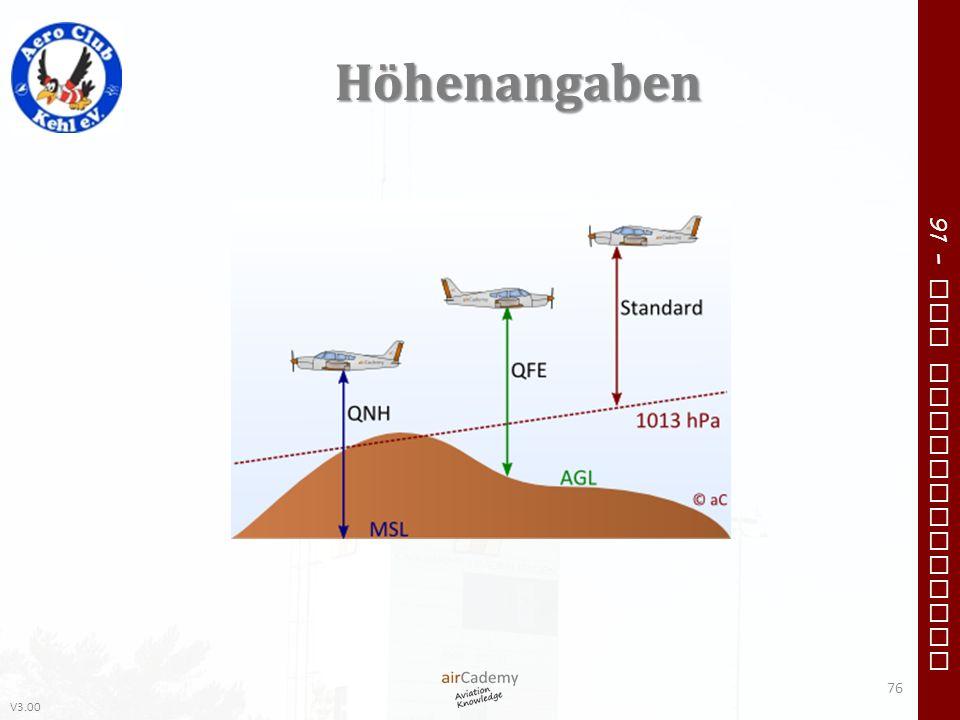 V3.00 91 – VFR Communication Höhenangaben 76