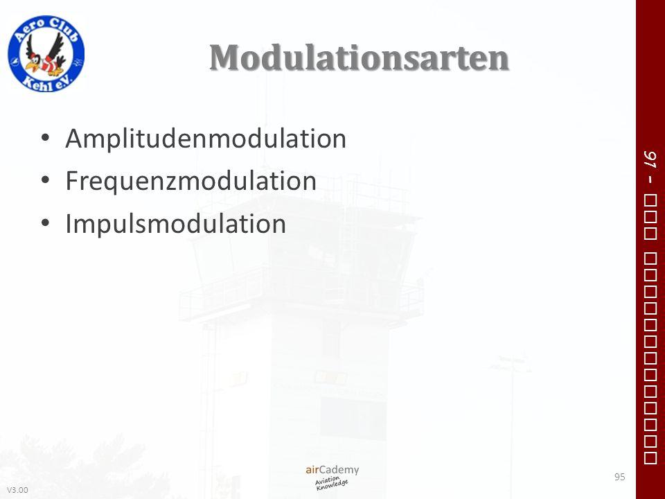 V3.00 91 – VFR Communication Modulationsarten Amplitudenmodulation Frequenzmodulation Impulsmodulation 95