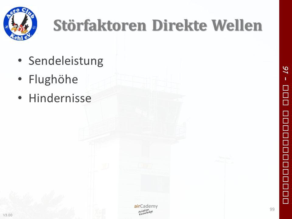 V3.00 91 – VFR Communication Störfaktoren Direkte Wellen Sendeleistung Flughöhe Hindernisse 99