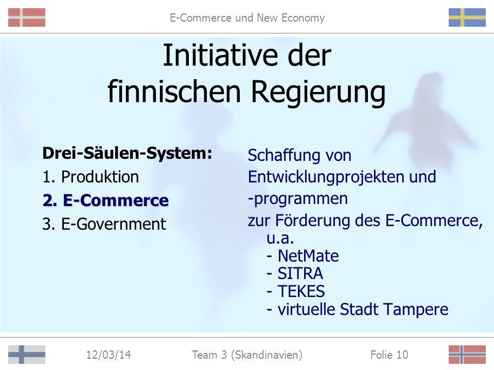 E-Commerce und New Economy 12/03/14 Folie 9Team 3 (Skandinavien) Initiative der finnischen Regierung Drei-Säulen-System: 1.