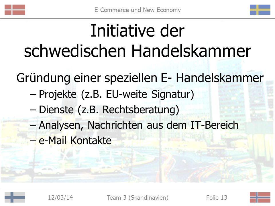 E-Commerce und New Economy 12/03/14 Folie 12Team 3 (Skandinavien) Initiative der schwedischen Handelskammer http://www.ehandelskammaren.nu