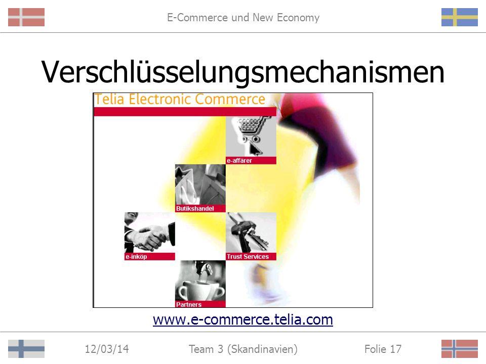 E-Commerce und New Economy 12/03/14 Folie 16Team 3 (Skandinavien) Lösungsansatz II Förderung von Verschlüsselungs- mechanismen zur sicheren Abwicklung von Transaktionen