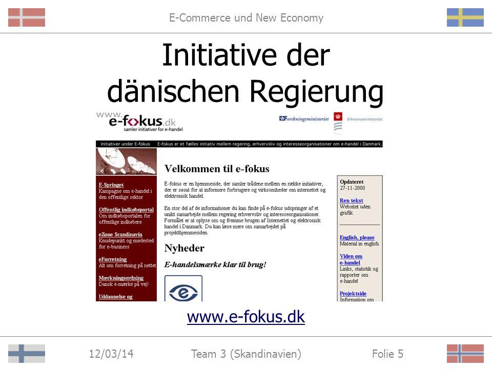 E-Commerce und New Economy 12/03/14 Folie 4Team 3 (Skandinavien) Lösungsansatz I Förderprogramme der Regierungen zur Schaffung optimaler Rahmenbedingungen
