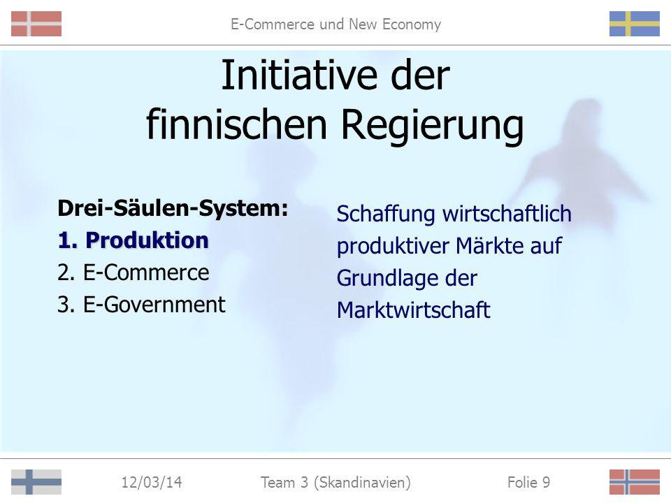 E-Commerce und New Economy 12/03/14 Folie 8Team 3 (Skandinavien) Initiative der finnischen Regierung Drei-Säulen-System: 1.