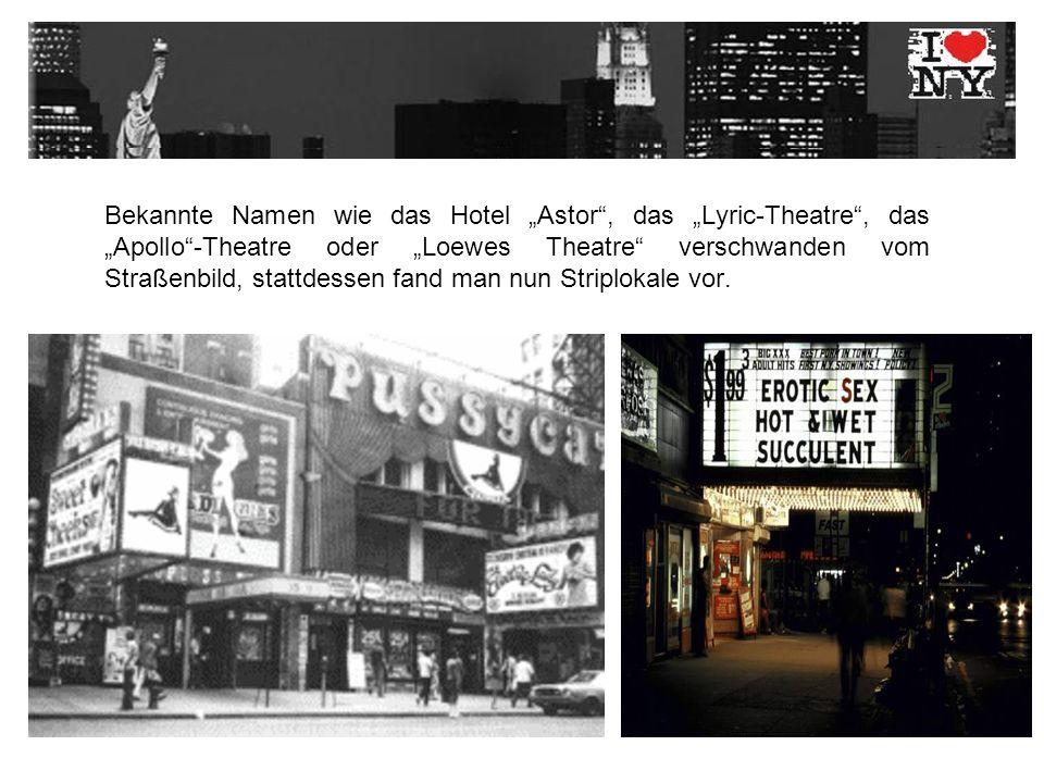 Bekannte Namen wie das Hotel Astor, das Lyric-Theatre, das Apollo-Theatre oder Loewes Theatre verschwanden vom Straßenbild, stattdessen fand man nun Striplokale vor.