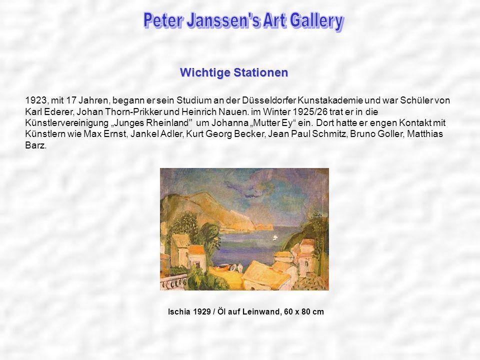 1926 –1928 Studium an der Academie de la Grande Chaumiere, Paris 1930 heiratete Peter Janssen seine erste Frau Inga Ida Marie, geb.