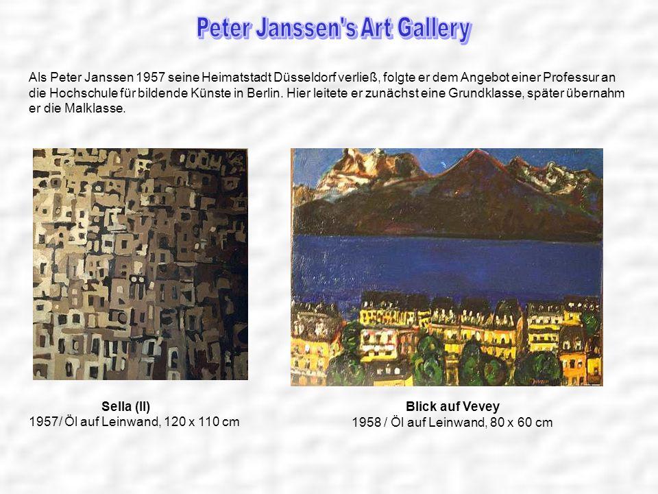 Als Peter Janssen 1957 seine Heimatstadt Düsseldorf verließ, folgte er dem Angebot einer Professur an die Hochschule für bildende Künste in Berlin. Hi